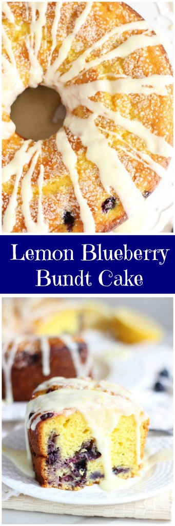 lemon blueberry bundt cake with lemon glaze pin