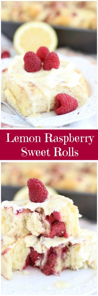 lemon raspberry sweet rolls with lemon mascarpone frosting pin