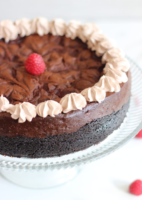 Nutella Espresso Cheesecake with Raspberry Swirl