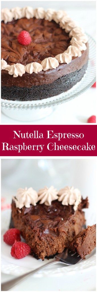 nutella espresso cheesecake with raspberry swirl pin