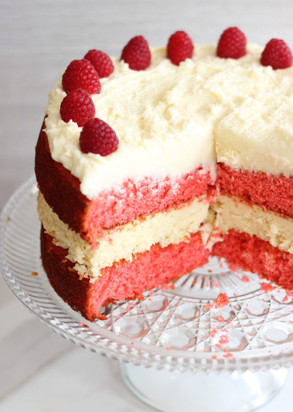 Raspberry White Chocolate Cheesecake Cake