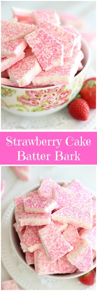 strawberry cake batter bark pin