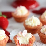Strawberry Cookie Cups with White Chocolate Buttercream