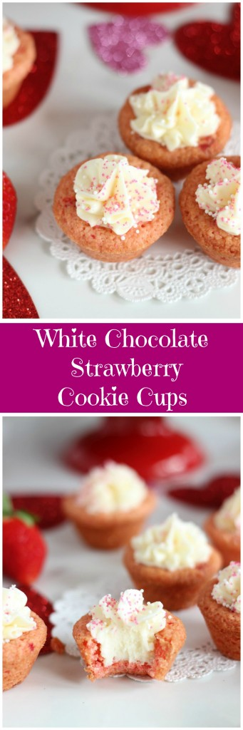 strawberry cookie cups with white chocolate buttercream pin