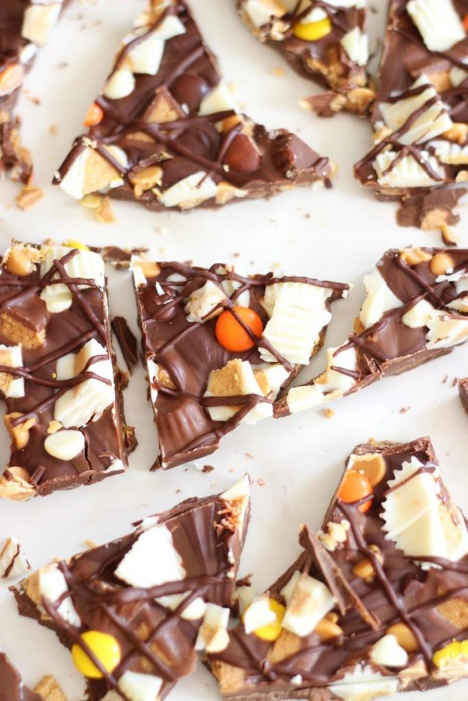 triple chocolate ultimate peanut butter cup bark 14
