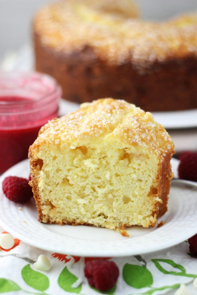 white chocolate macadamia coconut bread with raspberry syrup 7