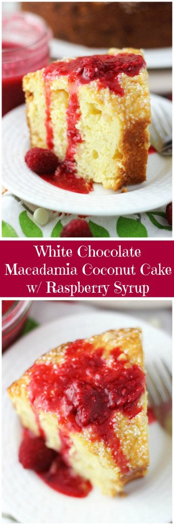 white chocolate macadamia coconut bread with raspberry syrup pin