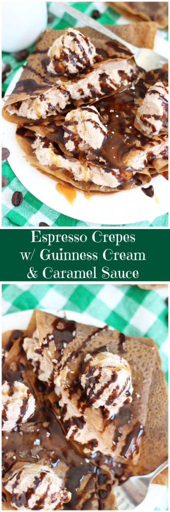 espresso crepes with guinness cream and caramel sauce pin