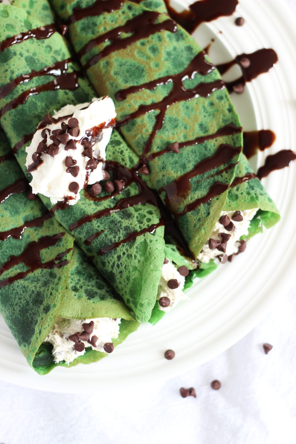 Green Velvet Crepes with Bailey's Chocolate Chip Cheesecake Filling