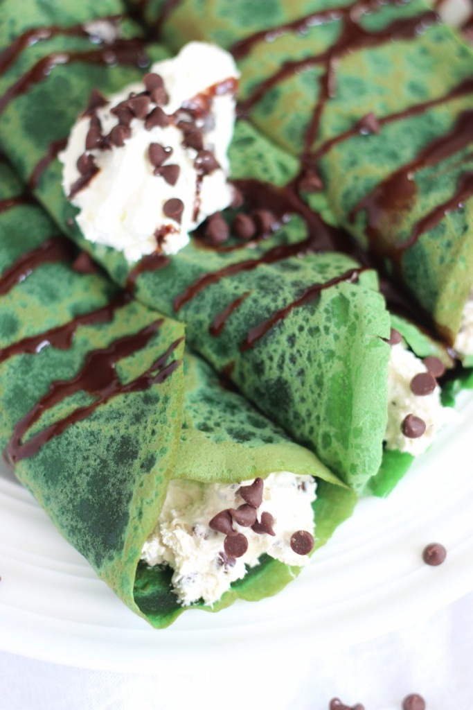 green velvet crepes with bailey's chocolate chip cheesecake filling 17