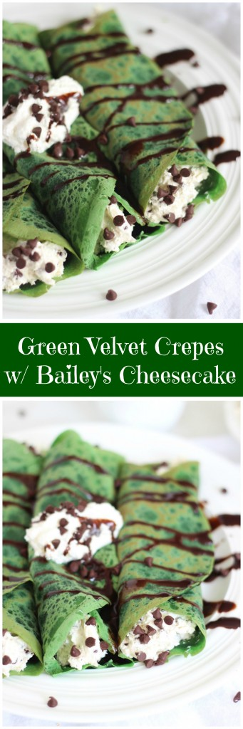 green velvet crepes with bailey's chocolate chip cheesecake filling pin
