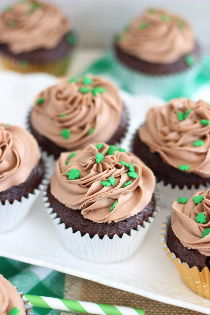 guinness chocolate truffle cupcakes with bailey's frosting 12