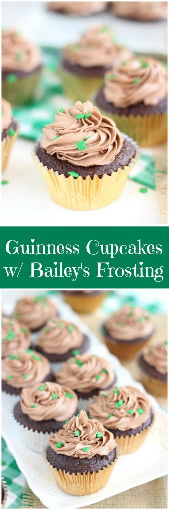guinness chocolate truffle cupcakes with bailey's frosting pin
