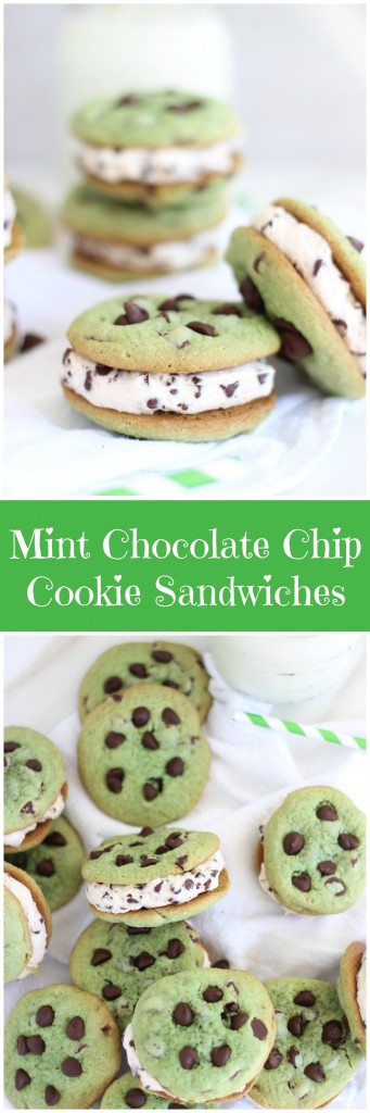 Soft and chewy mint chocolate chip cookie sandwiches with chocolate ...