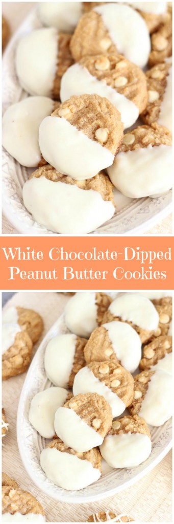 white chocolate dipped peanut butter cookies pin