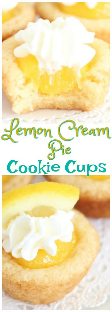 Lemon Cream Pie Cookie Cups pin 1