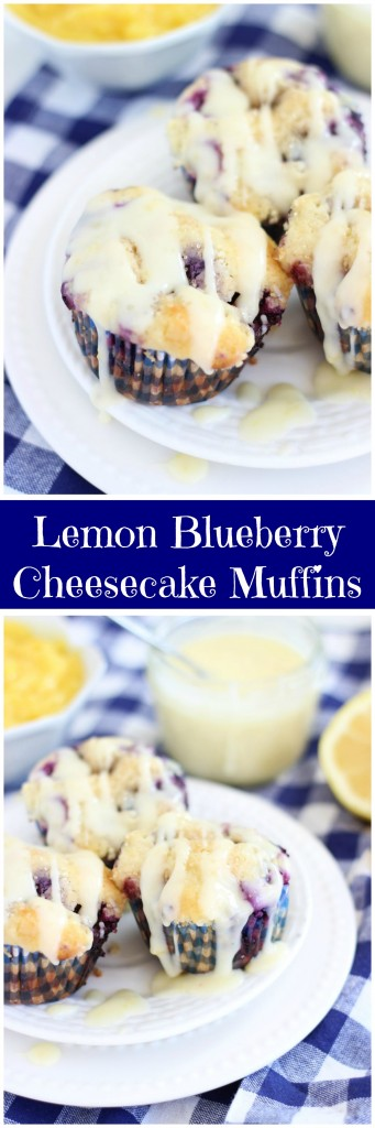 lemon blueberry cheesecake muffins with lemon glaze pin
