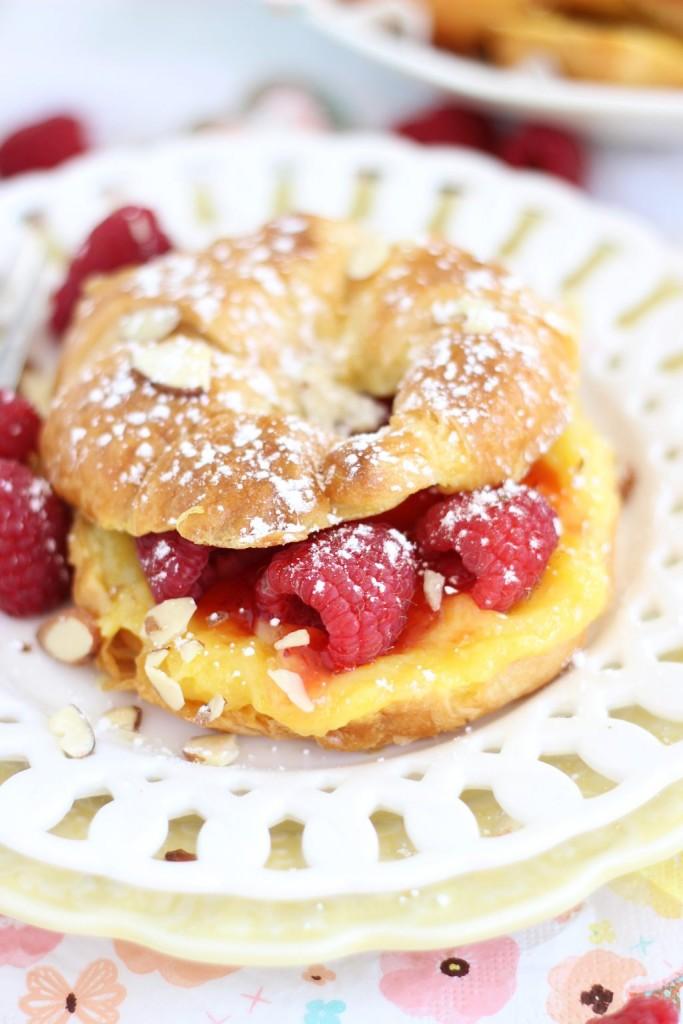 lemon raspberry almond croissant french toast 4