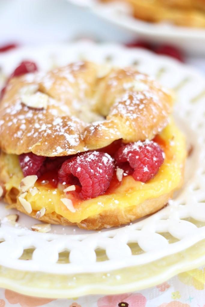lemon raspberry almond croissant french toast 5
