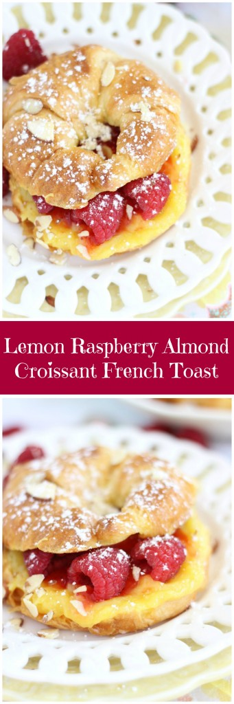 lemon raspberry almond croissant french toast pin