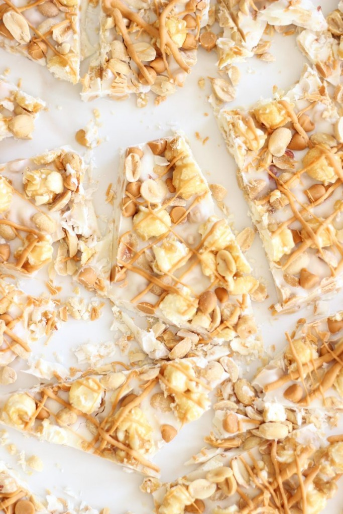 salted peanut butterscotch & caramel corn white chocolate bark 12