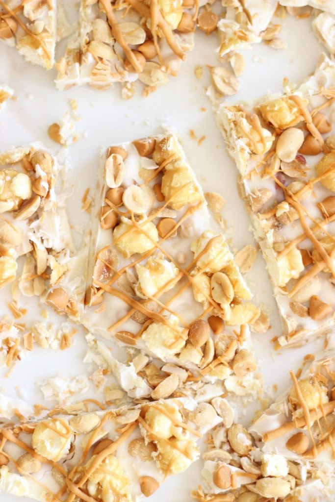 salted peanut butterscotch & caramel corn white chocolate bark 13