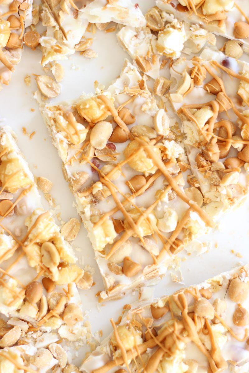 Salted Peanut Butterscotch & Caramel Corn White Chocolate Bark