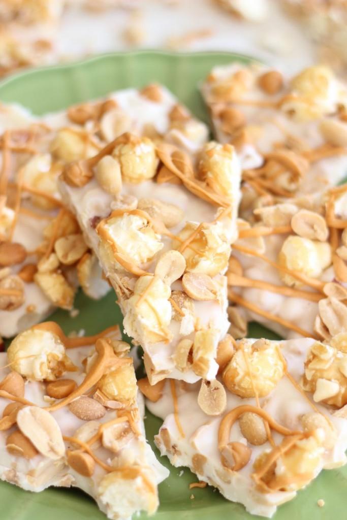 salted peanut butterscotch & caramel corn white chocolate bark 17