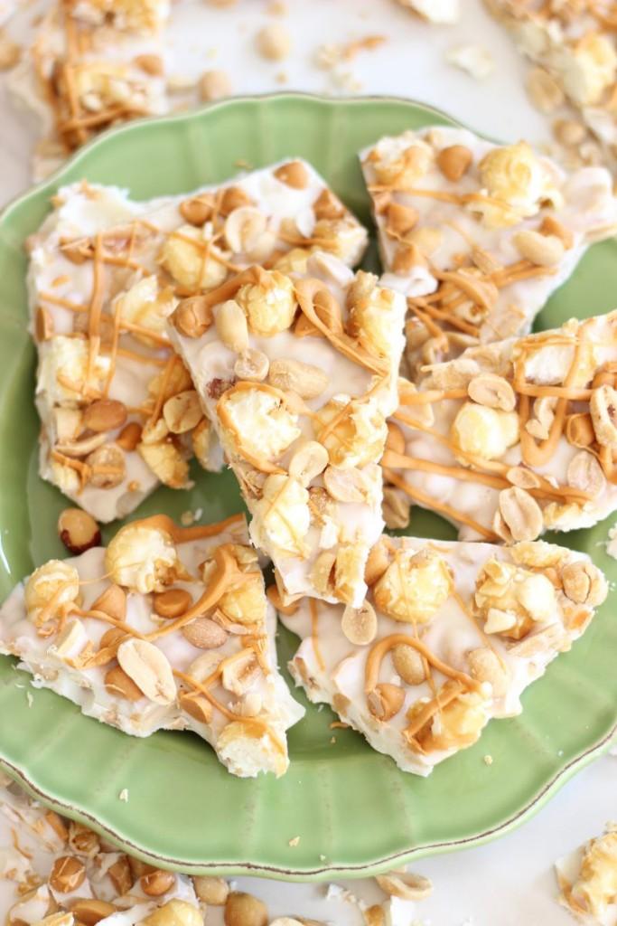 salted peanut butterscotch & caramel corn white chocolate bark 18