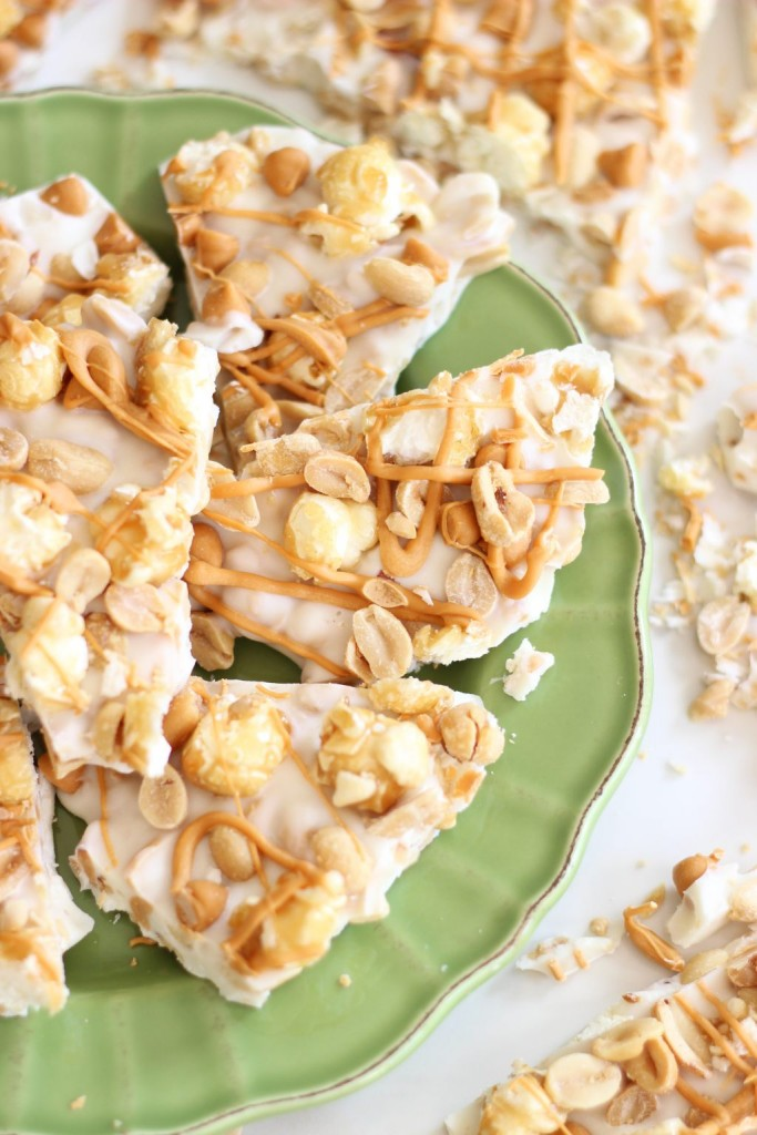 salted peanut butterscotch & caramel corn white chocolate bark 21