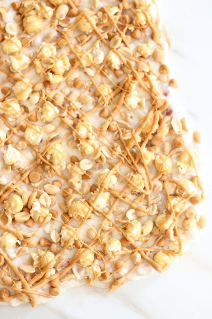 salted peanut butterscotch & caramel corn white chocolate bark 7
