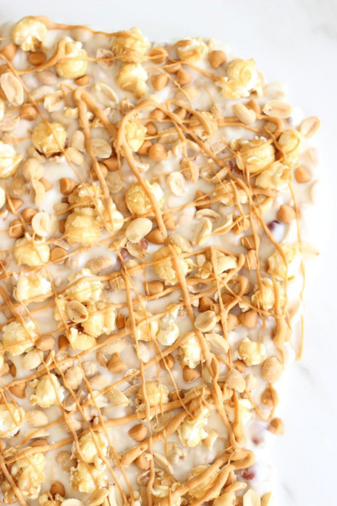 salted peanut butterscotch & caramel corn white chocolate bark 8
