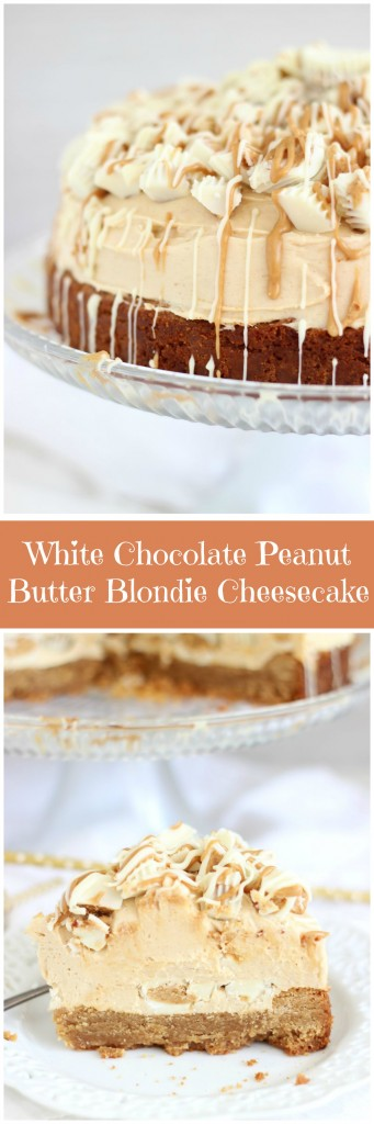 white chocolate peanut butter blondie cheesecake pin
