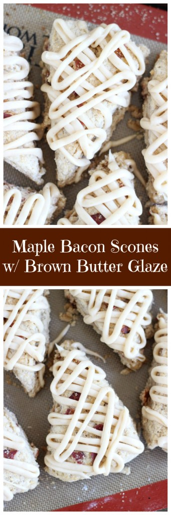 brown sugar maple bacon scones with maple brown butter glaze pin