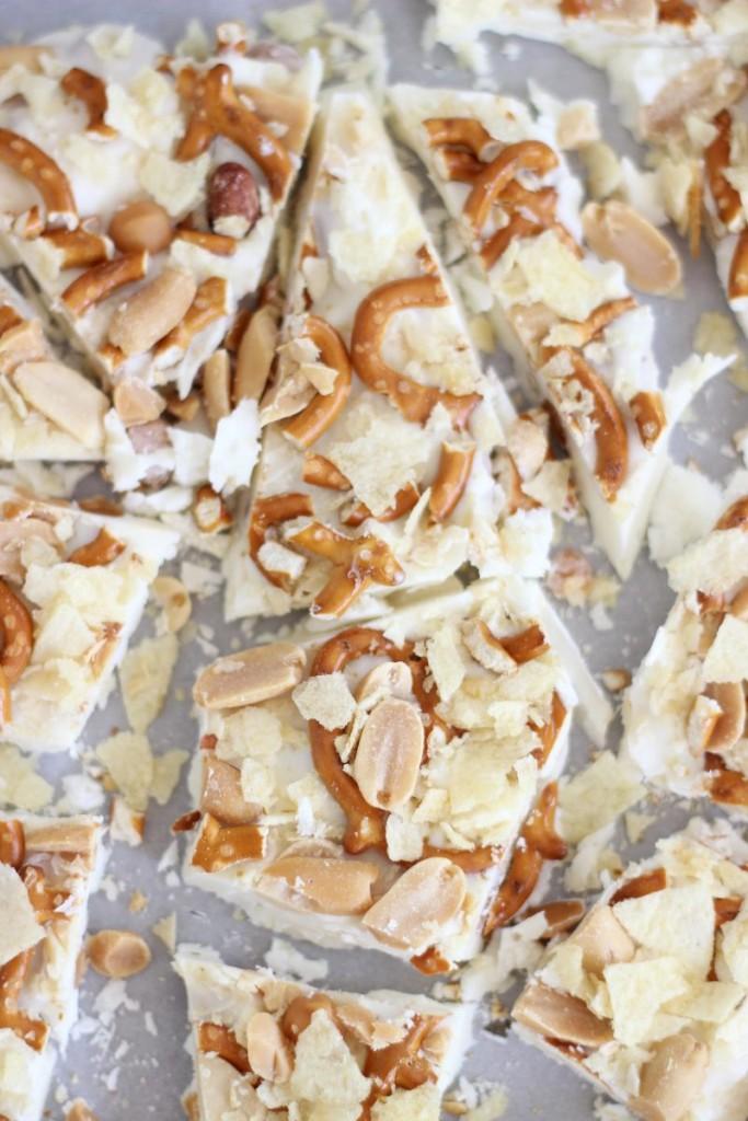 caramel pretzel salted peanut potato chip bark 3