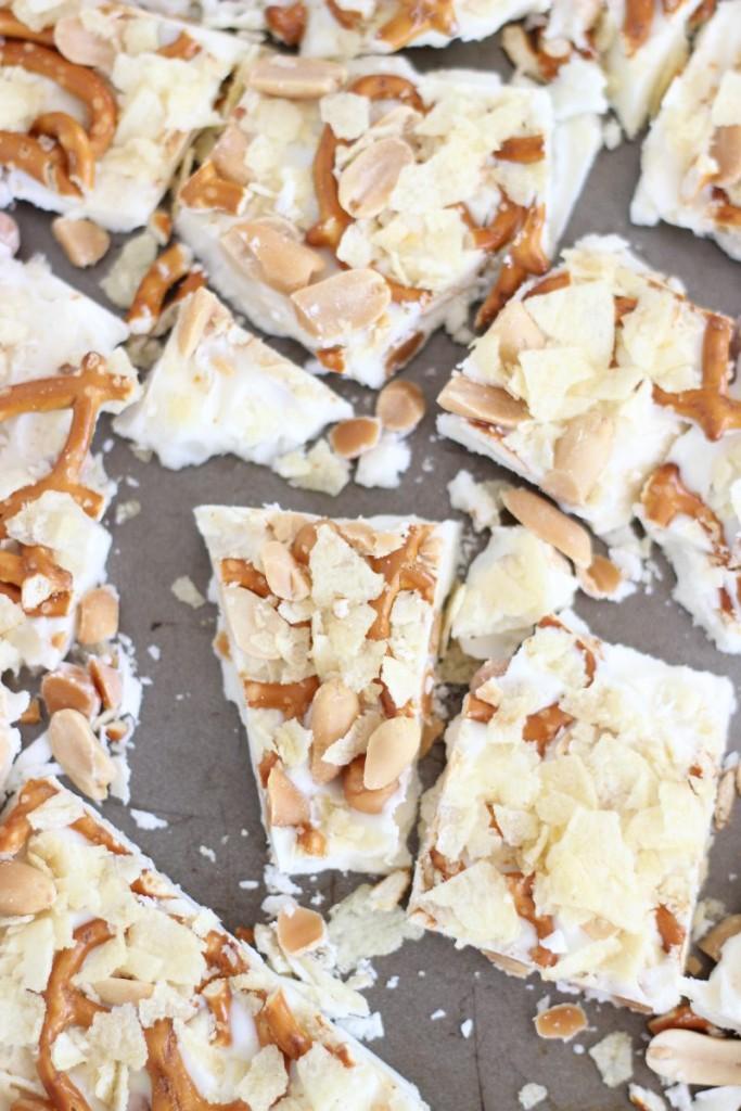 caramel pretzel salted peanut potato chip bark 4