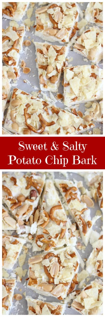 White chocolate bark with crushed potato chips, caramel bits, pretzel ...