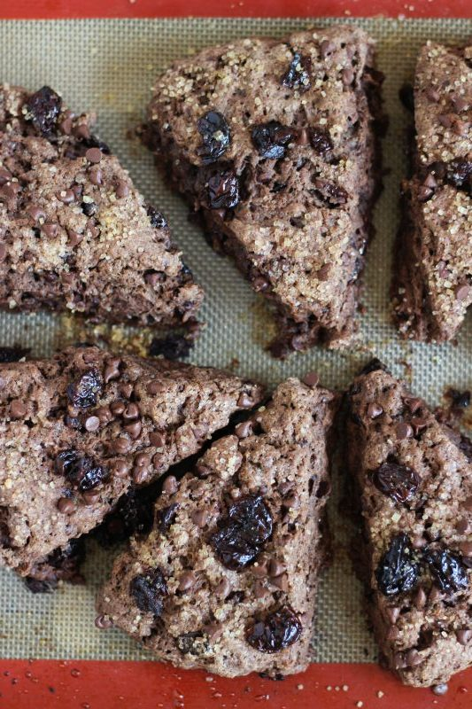 chocolate cherry mocha scones with chocolate glaze 2