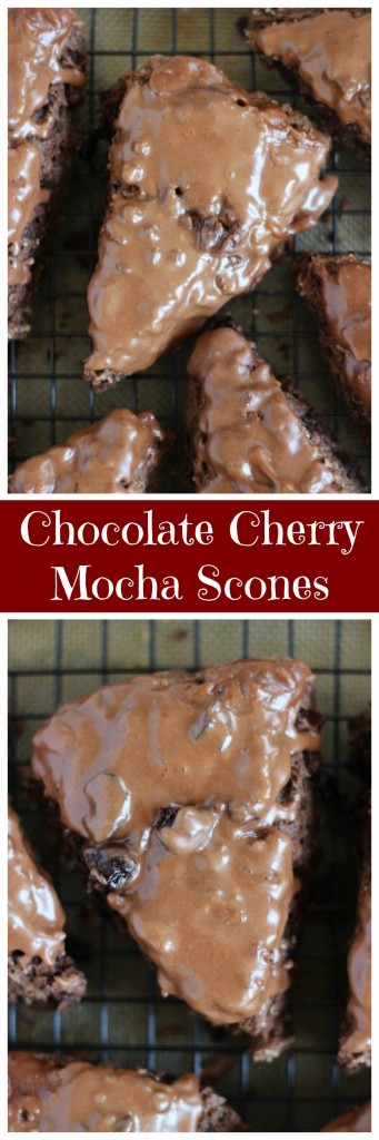 chocolate cherry mocha scones with chocolate glaze pin