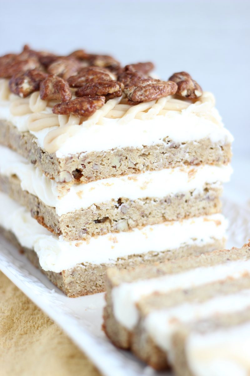 Maple Cream Cheese Frosting maple pecan blondie torte with maple cream cheese frosting