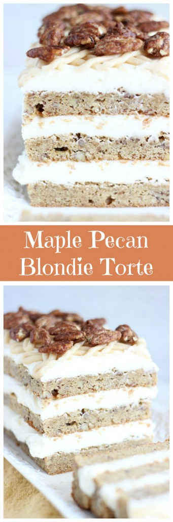 maple pecan blondie torte pin