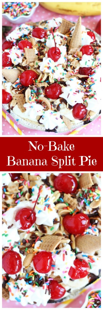 no bake banana split pie pin