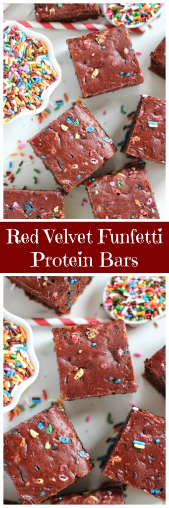 red velvet cake funfetti protein bars pin