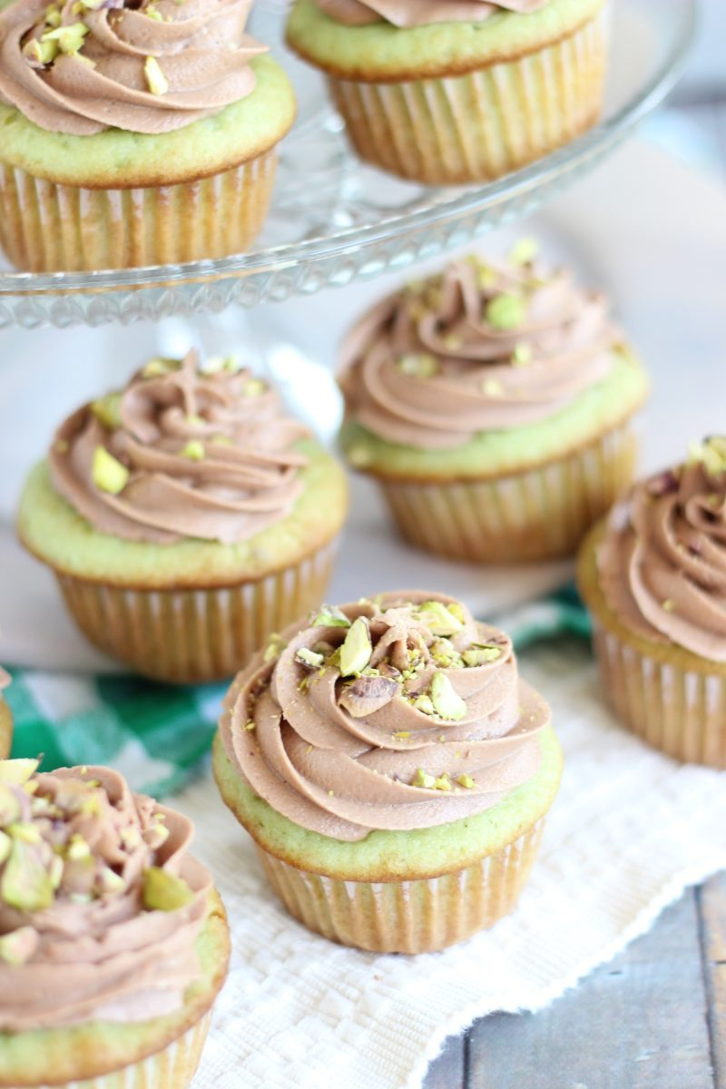 Chocolate Ganache Pistachio Cupcakes with Chocolate Cream Cheese Frosting