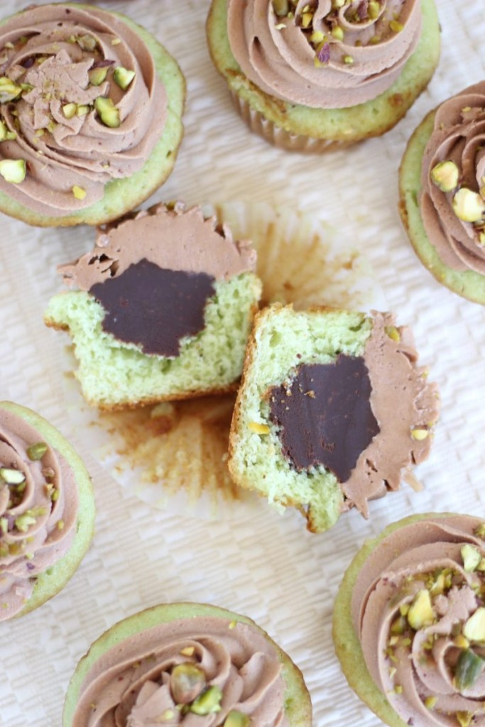 chocolate ganache pistachio cupcakes with chocolate cream cheese frosting 14