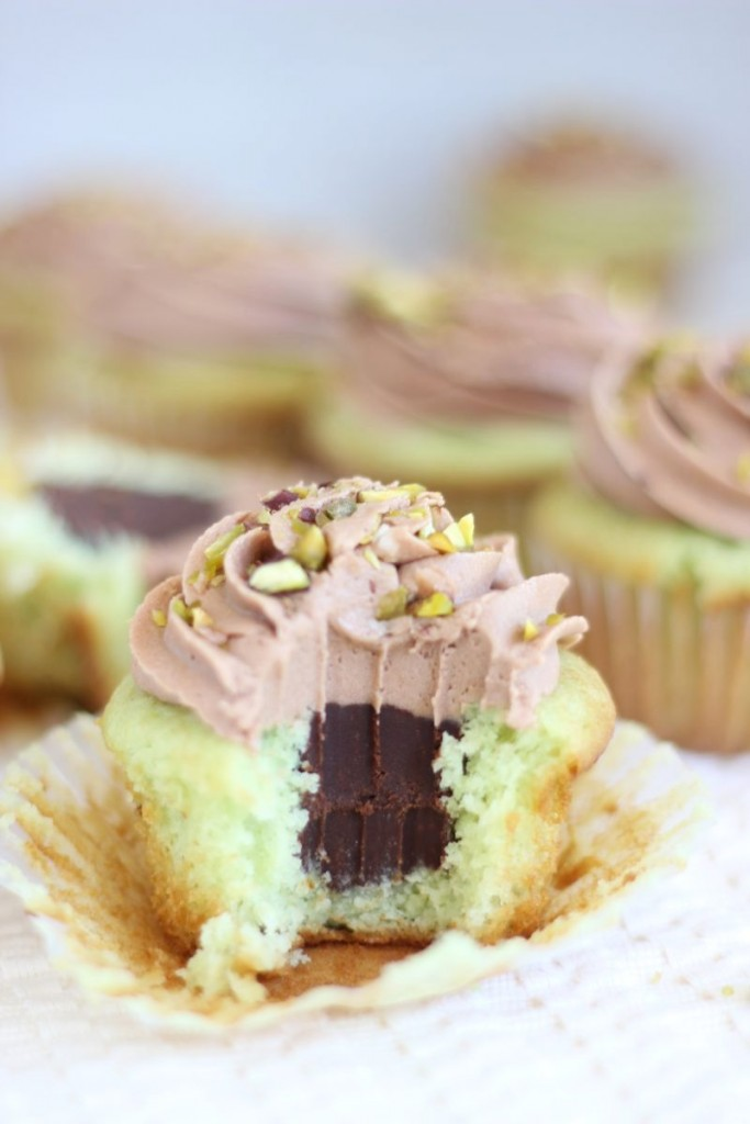 chocolate ganache pistachio cupcakes with chocolate cream cheese frosting 17