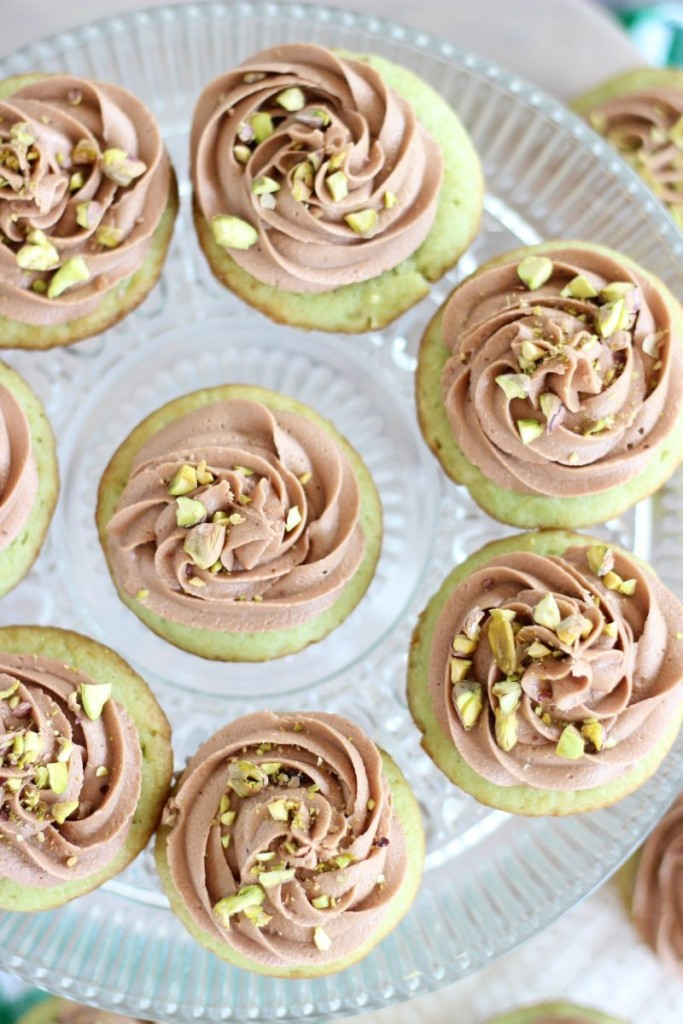 chocolate ganache pistachio cupcakes with chocolate cream cheese frosting 9