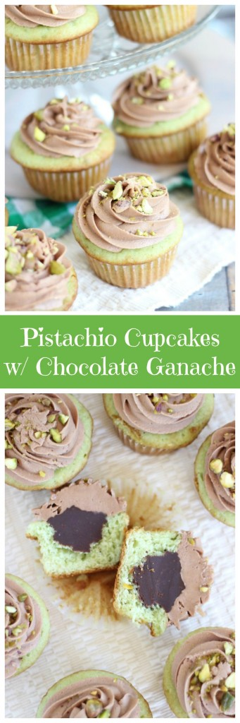 chocolate ganache pistachio cupcakes with chocolate cream cheese frosting pin