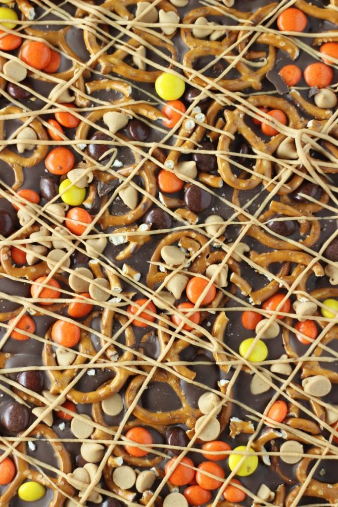 chocolate peanut butter pretzel bark 1
