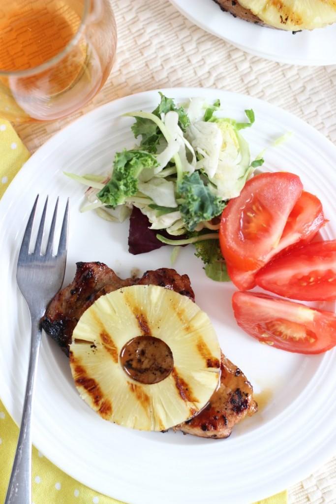 grilled teriyaki pineapple pork chops 13